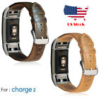 Genuine Leather Replacement Band strap Clasp For Fitbit Charge 2 Brown