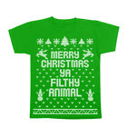 Merry Christmas Ya Filthy Animal Ugly  Sweater Contest Green Youth T-Shirt
