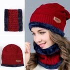 Beanie Hat Scarf Set Knit Hat Warm Thick Winter Cap Fleece For Women US Ship