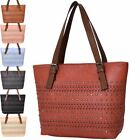 New Laser Cut Faux Leather Studs Ladies Tote Shopper Bag Handbag