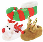 Girls Boys Novelty 3D Xmas Slippers Reindeer Elf Plush Christmas Booties Gift