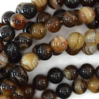 "Brown Stripe Agate Round Beads Gemstone 15"" Strand 4mm 6mm 8mm 10mm 12mm"