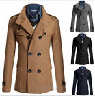 New Men's Trench Coat Slim Double Breasted Fit Jacket Wool Winter Casual Clothes