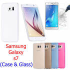 Silicone Clear Gel Case Cover and Tempered Glass Screen Protector For Samsung S7