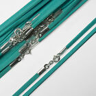"18"" (46cm) Turquoise Soft Suede Cord Necklace with 925 Sterling Silver Clasp"