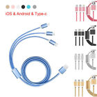 For iPhone/ Sumsung/ Type-C 3 in 1 Multiple Braided USB Charger Cable Cord Lot