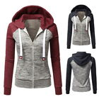 New Womens Baseball  Jacket Hooded Contrast Sleeves Hoodies Coat Zip Tops