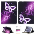 "Hot Purple Butterfly For 7"" 8.5"" 10"" Tablet PC Universal Leather Case Cover +Pen"