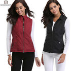 Women Pad Vest Stand Collar Zip Up Front Gilet Quilted Pocket Top Puffer Jacket
