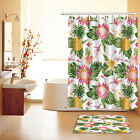 """Tropical Leaves Pineapple Polyester Waterproof 72/79"""" Shower Curtain Bath Mat"""