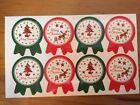 Merry Christmas Stickers / labels - red and green seal design
