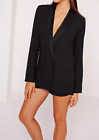 Missguided crepe double button blazer black (M1/19)