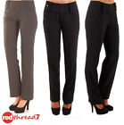 Womens Work Straight Office Pinstripe Business Dress Pants Trousers Black Ladies