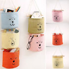 House Wall Closet Hanging Pockets Storage W/ Wood Stick Linen Cotton Fabric Bag