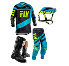 New Kids Youth Fly F16 Jersey Pant Kit Thor Boots Neck Collar Blue Black Xmas