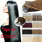 US Tape in Skin Weft Seamless 100% Real Remy Human Hair Extensions MY Straight