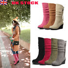 Womens Winter Wedge Boots Mid Heel Slip On Mid Calf Casual Shoes Boot Sizes New