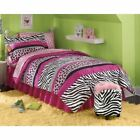 Stunning Twin Full Queen Bed Pink Black Zebra Leopard Stripe pc Comforter Sheets Set BuyItNow Shipping Free Condition New with tags