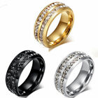Men Women Wedding Band CZ Stainless Steel Unisex Ring Silver Gold Size 7-12 Ring