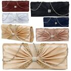 New Bow Design Diamante Detail Satin Ladies Bridal Prom Clutch Bag Handbag