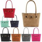 New Bow Embellishment Faux Leather Ladies Tote Shoulder Bag Handbag