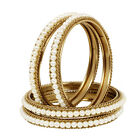 Indian Ethnic Antique Gold Tone 4Pc Pearl Bangle Bollywood Partywear Jewelry