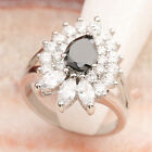 Deluxe Natural Black Sapphire 5*7mm Gemstone Silver Ring R2292