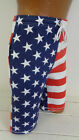 Men's American Flag Shorts Cotton USA Red White Blue Stars Elastic Old Glory