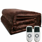 Twin/Queen/King Electric Heated Blanket Flannel Wterproof w/Temperature Control