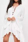 Missguided curve white cheesecloth tie front dress (M13/9)