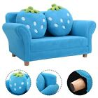 Child Kids Sofa Strawberry Armrest Chair Lounge Couch W/ 2 Pillow Blue/Pink Gift
