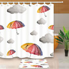 Umbrella And Cloud Watercolor Bathroom Fabric Shower Curtain With Hooks 71inch