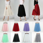 Women Tulle Mesh 62cm Skirt Elastic High Waist 3 Layers Pleated Maxi Long Dress