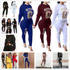 2Pcs Women Letter Printing Hoodie Tracksuit Set Casual Sport Sweat Suits Set New