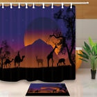 African Animals Silhouettes Waterproof Fabric Shower Curtain Set Bath 71Inch