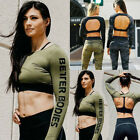 Womens Sport Racerback Crop Top Bra Long Sleeve Workout Gym Running Fitness Top