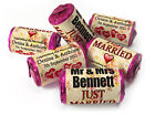 Personalised Mini Love Heart Sweets for Weddings favours, Just Married Vintage