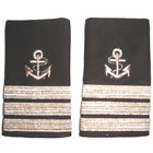 Captain Mate Uniform Shoulder Boards Epaulets With Silver Anchor & Silver Bars