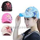 Women Ladies Baseball Cap Canvas Flowers Butterfly Embroidered Adjustable Hat
