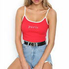 Women Sexy Paris Letters Crop Top Adjustable Spaghetti Strap Tank Top Red White