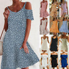 UK Women Holiday Floral Dresses Ladies Off Shoulder Summer Beach Dress Size 6-20