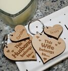 PERSONALISED HUSBAND & WIFE HEART KEYRINGS VALENTINES GIFT WEDDING ANNIVERSARY
