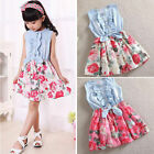 US Kids Girls Party Toddler Denim Dress Flower Print Summer Princess Sundress