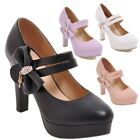 Womens Round Toe Platforms Bridal Bow Knot Strap High Heels Party Wedding Shoes