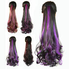 Long Straight Curly Bleached Mix Ponytail Wrap On Clip-in Hair Extensions Woman