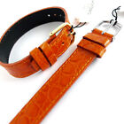 14mm 1 PIECE TAN CABOUCHON WATCH STRAP.  CROC GRAIN LEATHER GOLD or SILVER