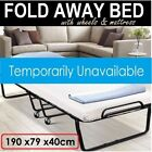 Folding Bed Single Size Deluxe Portable Mattress Fold Up Away Wheels Camping New
