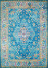 Blue Traditional-European Distressed Faded Petals Area Rug Bordered 1830-30362