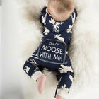 Baby Toddler Girl Boy Reindeer Pattern Long Sleeve Jumpsuit Bodysuit Clothes