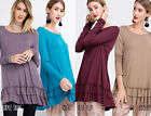 EASEL Soft Knit Ruffled Hem Tunic Top Scoop Neck Long Sleeve Shirt Womens Solids